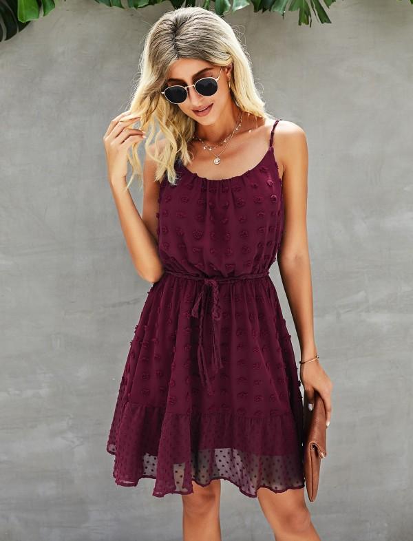 Effen zomer mouwloze Chiffion casual jurk met riem