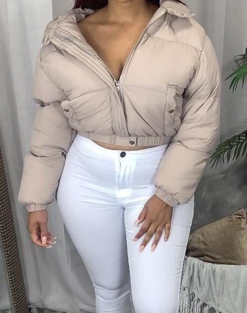 Winter Solid Crop Long Sleeve Padded Coat