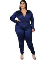 Ensemble body enveloppé en satin de grande taille et pantalon assorti