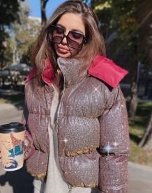 Cappotto invernale imbottito a maniche lunghe con cappuccio