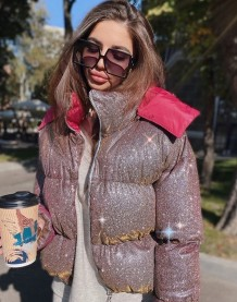 Winter Long Sleeve Sparkling Padded Hoody Coat