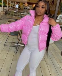 Jaqueta de couro curta acolchoada rosa inverno com zíper