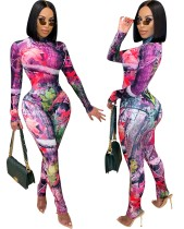Herbst Party Full Print Sexy Bodysuit und Legging Set