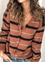 Winter Button Up Stripes V-Neck Sweater Coat