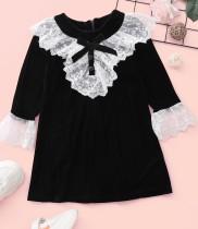 Vestito da festa patchwork in pizzo bianco e nero autunnale per bambina