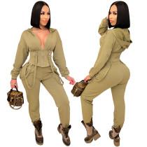 Conjunto de pantalón y top corto con capucha de color sólido informal de otoño