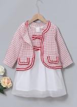 Conjunto de falda de fiesta de dos piezas a cuadros de otoño para niñas y niños