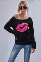 Camisa básica de estampa de lábios de outono