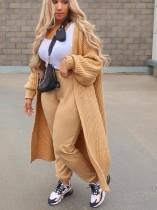 Abrigo suéter largo liso con mangas abullonadas de invierno