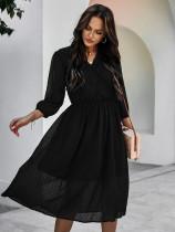 Vestido longo outono elegante em chiffon com decote em V
