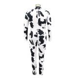 Plus Size Autumn Jumpsuit mit weißem und schwarzem Druck und Reißverschluss