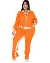 Survêtement à glissière orange à manches longues décontracté d'automne de grande taille avec détail de garniture rayée