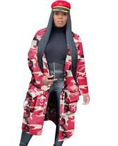 Lange Camou-jas in Street Style met mouwen