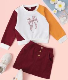キッズガールオータムプリントコントラストシャツとミニスカートセット