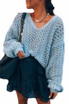 Winter Hollow Out V-Ausschnitt Pullover Loose Sweater