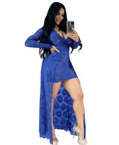 Summer Sexy Blue Lace V-Neck High Low Long Dress with Sleeves