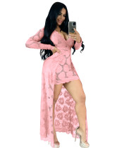 Summer Sexy Pink Lace V-Neck High Low Long Dress with Sleeves