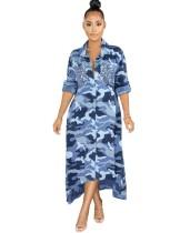 Autumn Camou Print Langes Blusenkleid mit Pailletten-Taschen