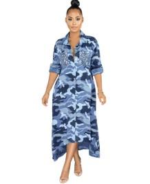 スパンコールポケット付き秋のカモウプリントロングブラウスドレス