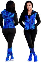 Survêtement à capuche zippé coloré imprimé automne