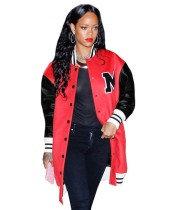 Winter Red and Black Print Long Jersey Jacket