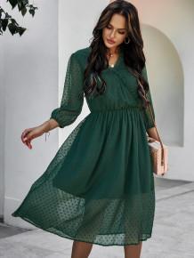 Осеннее элегантное шифоновое длинное платье с v-образным вырезом