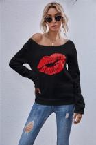 Herbstliche Lippen-Print-Rundhals-Basic-Shirt
