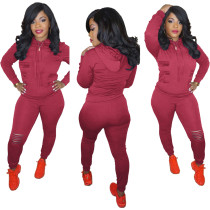 Autumn Solid Plain Ripped Tight Hoody Jogger Set