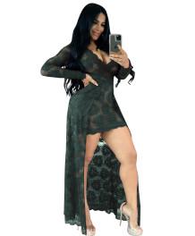 Сексуальное кружевное платье с длинными рукавами и V-образным вырезом