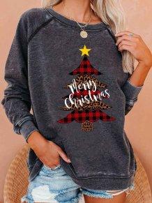 Árvores de Natal com estampa de camisa regular de decote redondo