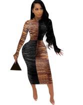 Vestido midi con estampado de tigre de fiesta de otoño