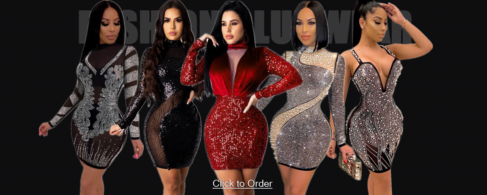 Autumn Party Sequins Sexy Patchwork Bodycon Dress