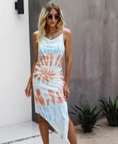 Vestido largo con tirantes irregulares y elegante Tie Dye de verano