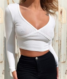 Autumn Party Sexy Ribbed Crop Top