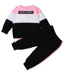 Kinder Mädchen Herbst Kontrast Shirt und Hosen Set