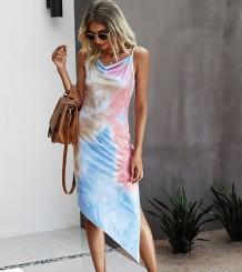 Sommer Elegant Tie Dye Irregular Strap Langes Kleid