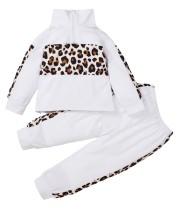 Ensemble chemise et pantalon blanc léopard automne fille pour enfants