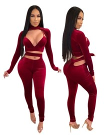 Conjunto de calças e blusa de outono sexy recortada