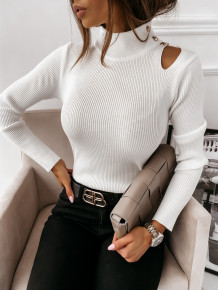 Autumn Turtleneck Cut Out Gestricktes Basic Top