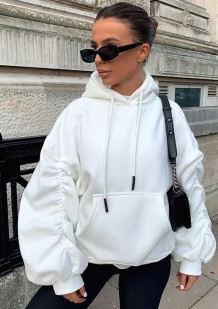 Winter Puff Sleeve Front Pocket Hoody Top