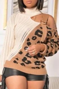 Winter Party Kontrast Leopardenmuster Unregelmäßiger Rollkragenpullover