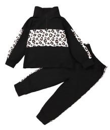 Kids Girl Autumn Leopard Black Shirt and Pants Set
