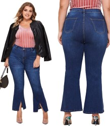 Plus Size Autumn Slit Bottom High Waist Blue Jeans