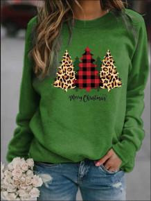 Normaal overhemd met kerstbomenprint en ronde hals