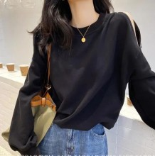 Autumn Solid Plain Zipped Sleeves O-Neck Shirt