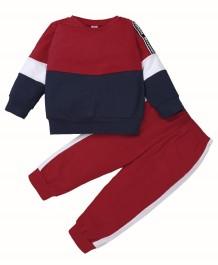 キッズガール秋のコントラストシャツとパンツセット