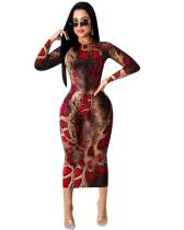 Vestido midi con estampado de leopardo de fiesta de otoño