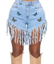 Summer High Waist Butterfly Tassels Denim Shorts