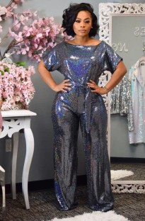 Summer Party Metallic Sexy O-Neck Loose Jumpsuit with Belt