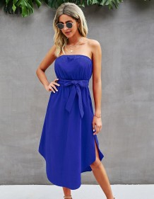 Vestido longo de verão elegante sólido liso sem alças de cintura alta